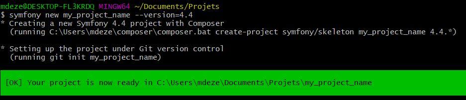 Création d'un projet Symfony 4.4 avec le bin Symfony